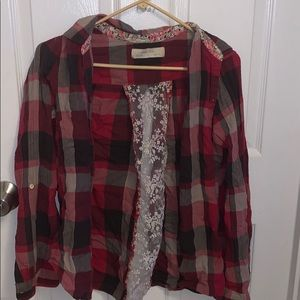 Anthropology plaid flannel button down
